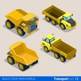Construção rodada: veículos isométricos lisos do vetor ilustração royalty free