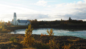 Construção Sat em um rio Imagens de Stock Royalty Free