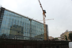 Construção sob a construção nova da embaixada dos E.U. Foto de Stock Royalty Free