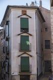 Construção típica das casas na cidade velha da cidade de Cuenc Imagem de Stock