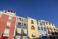 Construção típica das casas na cidade velha da cidade de Cuenc Imagem de Stock Royalty Free