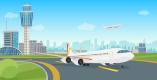 Construção terminal de aeroporto com descolagem do avião dos aviões Paisagem do aeroporto do vetor ilustração stock