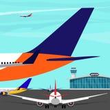 Construção terminal de aeroporto, torre de controlo, planos no alcatrão Ilustração lisa do vetor Imagem de Stock