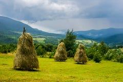 Construção tradicional do feno em montanhas da exploração agrícola da vila de Ucrânia Fotos de Stock Royalty Free