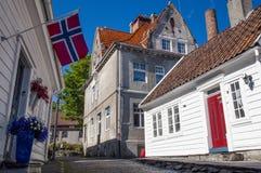 Construção tradicional em Stavanger, Noruega Fotografia de Stock Royalty Free