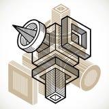 Construção trigonométricamente abstrata, molde dimensional do vetor ilustração royalty free