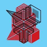 Construção trigonométricamente abstrata, projeto dimensional t ilustração stock