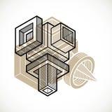 A construção trigonométricamente abstrata, vector o projeto dimensional t ilustração royalty free