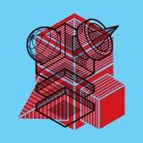 A construção trigonométricamente abstrata, vector o projeto dimensional t ilustração stock