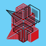A construção trigonométricamente abstrata, vector o projeto dimensional t ilustração do vetor
