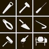 A construção utiliza ferramentas ícones Foto de Stock