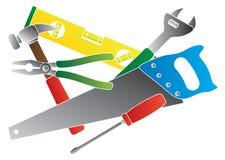 A construção utiliza ferramentas a ilustração de cores Imagens de Stock