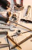 A construção utiliza ferramentas a série foto de stock