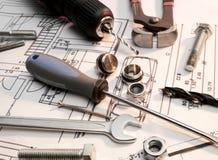 A construção utiliza ferramentas a série fotos de stock