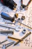 A construção utiliza ferramentas a série fotos de stock royalty free