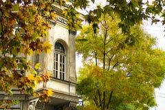 Construção velha bonita com a janela no canto da rua na cidade velha de Tbilisi, cores da folha do outono, Geórgia fotos de stock royalty free