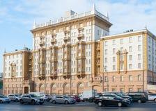 A construção velha da embaixada do Estados Unidos em Moscou imagem de stock