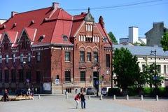 Construção velha de Suomen Pankki em Vyborg, Rússia Foto de Stock Royalty Free