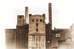 Construção velha do central elétrica na tonificação do sepia Fotografia de Stock