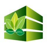 Construção verde com folha Imagens de Stock
