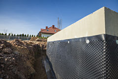 Construção Waterproofing da fundação Foto de Stock