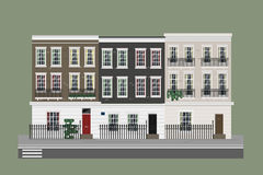 Construções ajustadas - casas na rua ilustração do vetor