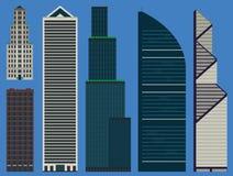 Construções ajustadas com arranha-céus do negócio Fotografia de Stock Royalty Free