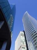 Construções altas Vancôver do centro da elevação que olha acima fotografia de stock