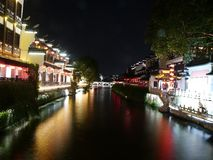 Construções antigas ao longo do rio de Qinhuaihe Fotografia de Stock Royalty Free