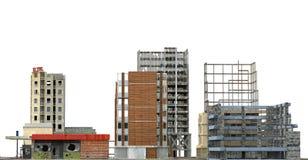 Construções arruinadas isoladas na ilustração 3D branca Imagem de Stock