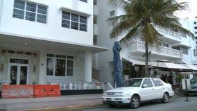 Construções Art Deco 1 da movimentação do oceano de Miami de 3 video estoque