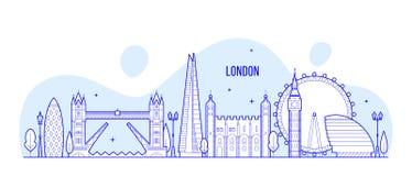 Construções BRITÂNICAS da cidade do vetor de Inglaterra da skyline de Londres ilustração do vetor