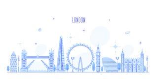 Construções BRITÂNICAS da cidade do vetor de Inglaterra da skyline de Londres ilustração royalty free