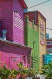 Construções coloridas brilhantes da madeira e o emplastro e plantas tropicais Imagens de Stock