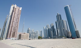 Construções da baía do negócio em Dubai, Emiratos Árabes Unidos, Médio Oriente Imagem de Stock Royalty Free