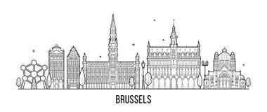 Construções da cidade do vetor de Bélgica da skyline de Bruxelas ilustração royalty free