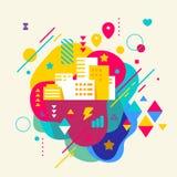 Construções da cidade no fundo manchado colorido abstrato com diff Ilustração Stock