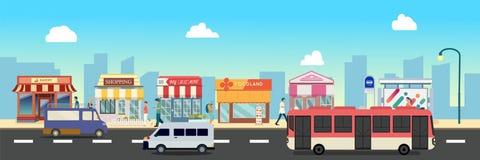 Construções da rua e de loja da cidade com ônibus, minibus com os povos na ilustração da rua, um projeto liso do estilo foto de stock royalty free