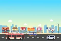 Construções da rua e de loja da cidade com ônibus, minibus com os povos no vetor da rua, um projeto liso do estilo fotos de stock