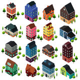 Construções de casa isométricas diferentes Imagem de Stock