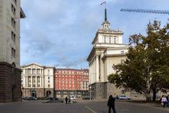 Construções do Conselho de Ministros e da antiga casa do partido comunista em Sófia, Bulgária Imagem de Stock Royalty Free