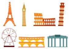 Construções do europeu dos desenhos animados Foto de Stock Royalty Free
