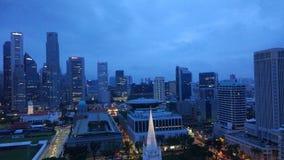 Construções do negócio da skyline da cidade de Singapura fotos de stock royalty free