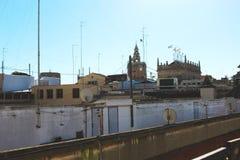 Construções do telhado em Valencia Spain fotografia de stock royalty free