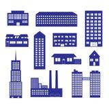Construções e ícone eps10 ajustado das casas Fotos de Stock Royalty Free