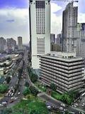 Construções e arranha-céus no complexo de Ortigas na cidade de Pasig, Manila, Filipinas Fotografia de Stock