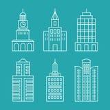 Construções e casas ajustadas do esboço do vetor Imagens de Stock
