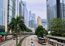 Construções e estrada de Hong Kong Imagens de Stock Royalty Free