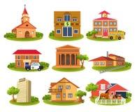 Construções e lugares diferentes Ilustração do Vetor