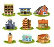 Construções e lugares diferentes ilustração stock